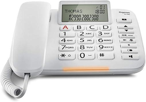 Gigaset DL380. Teléfono fijo con cable, Pantalla de alta visibilidad, Teclas grandes, Agenda para 99 contactos, Color Blanco: Gigaset: Amazon.es: Electrónica