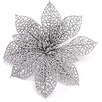 crazy night pack of 10 glitter sliver poinsettia christmas tree ornaments sliver - Glitter Christmas Tree