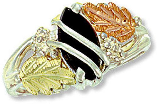 Landstroms Black Hills Silver Ladies Onyx Ring with Black Hills Leaves - MRLLR2874