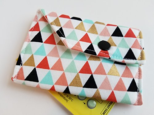 Birth Control Case with Snap Closure- Triangles and Gold