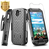 DuraForce PRO 2 Case with [Tempered Glass Screen Protector], NageBee Ultra Slim Belt Clip Holster Combo Shell Kickstand Shockproof Case for Kyocera Duraforce Pro 2 (E6900 E6910 E6920) -Black