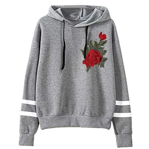 Con Pullover Stile gray4 Cappuccio Maglione Lunga Comradesn Womens Felpa Semplice medio Manica Cappuccio 7xAY1wz