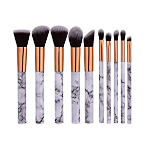 ELINKMALL Makeup Brushes Sets Foundation Brush Beauty Cosmetic Brushes Marble Gold Make Up Tools 10 Pieces (15.5121.2 cm)