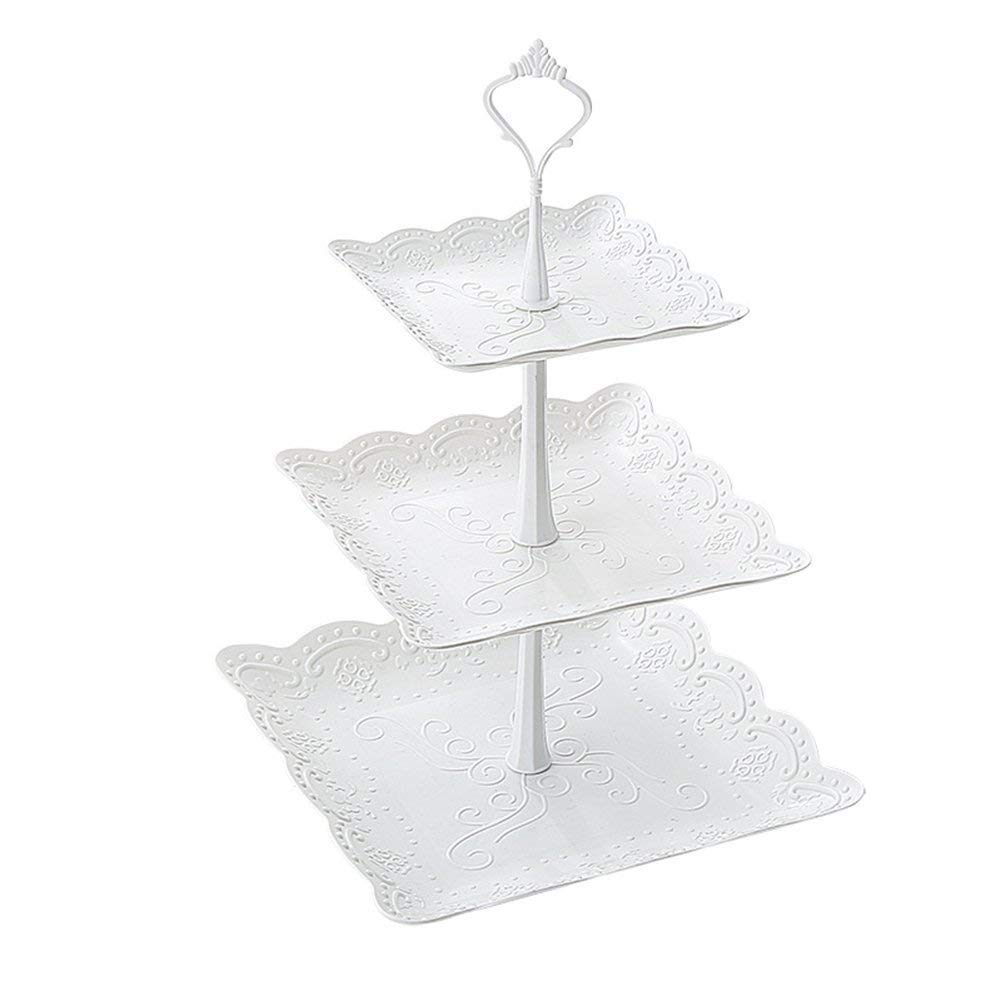 Case of 50,3-Tier Square Cake Stand Stacked Party Cupcake and Dessert Tower for Weddings, Tea Party, Holiday Dinners, or Birthday Parties, White
