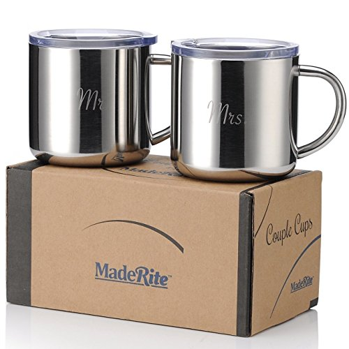 MadeRite Premium 304 Stainless Steel Couple Cups Coffee Mug Set 14 ounce (Mr. Mrs.) by MadeRite