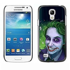 Caucho caso de Shell duro de la cubierta de accesorios de protección BY RAYDREAMMM - Samsung Galaxy S4 Mini i9190 MINI VERSION! - Zombie Art Blue Eyes Creepy Smile Green