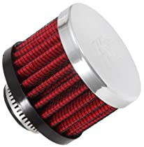 K&N 62-1340 Vent Air Filter / Breather: Vent Air Filter/ Breather; 0.625 in (16 mm) Flange ID; 1.5 in (38 mm) Height; 2 in (51 mm) Base; 2 in (51 mm) Top