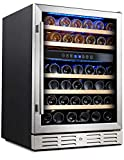 Kalamera 24'' 46-bottle Wine Cooler Refrigerator Built-in Dual Zone, Stainless Steel Door & Handle