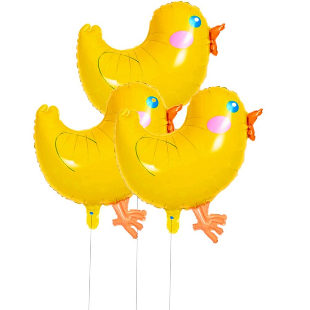 Amosfun 3Pcs Cartoon Foil Balloons Lovely Big Yellow Chickens Pattern Mylar Helium Balloons Decors for Birthday Party Fetival Wedding Christmas Birthday Gift for Children (Yellow)