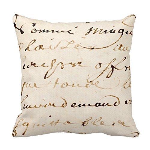 18 x 18 pulgadas Vintage marrón francés letra script ...