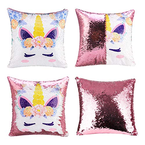 Merrycolor Unicorn Gifts Mermaid Throw Pillow Cover Magic Reversible Sequin Cushion Cover Decorative Pillowcase That Change Color (F Unicorn- Light Pink Sequins) from Merrycolor