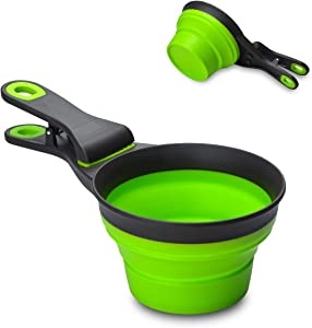 TOP STAR 3 in 1 Pets Silicon Collapsible Measuring Cups,for Pets Dogs,Cats Food Water Scoop,Bag Clip