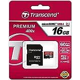 Transcend TS16GUSDU1 - Tarjeta de memoria MicroSDHC de 16 GB (clase 10, 400x, UHS-I, adaptador)