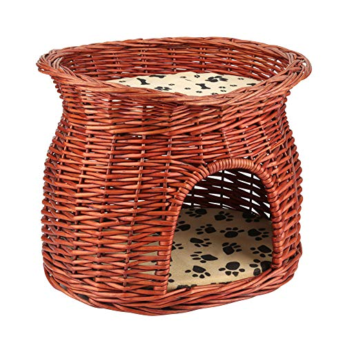 - Zerone 2 Layers Cat Bed, Wicker Cat Pet Sleeping House Handmade Cat Basket Bed Cave with Soft Cusions, 17.32 x 12.99 x 13.19inch