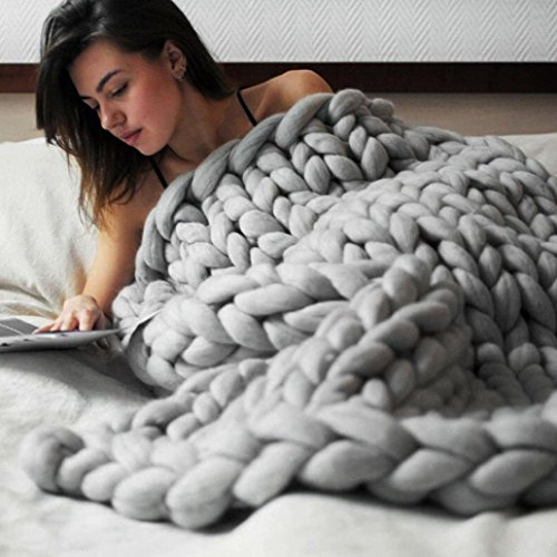 Merino Blanket - Makaor 100X120cm Chunky knit blanket Merino wool arm knitted throw Super large hand knitting yarn Pet Bed Chair Sofa Yoga Mat Rug By (Gray, Size:100cmx120cm/39.4