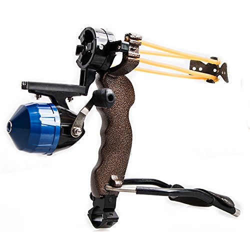 TOPARCHERY High Velocity Hunting Archery Bow Fishing Reel Slingshot Slingbow Catapult Arrow Brush Wrist Arrows Rest (1x Slingshot) ()
