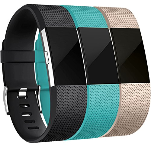 Maledan Bands for Fitbit Charge 2, Black Teal Champagne