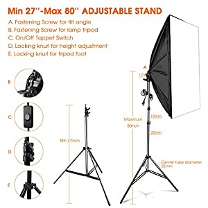 "FOSITAN 1600W LED Photography Studio Lighting Light Kit Softbox, Photo Studio Kit for Photo Portrait Video Photography Shoot 20""X28"" LS-2000"
