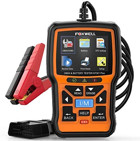 FOXWELL NT301 Plus Car OB2 Scanner, 2 in 1 Code Reader &12V Battery Tester, O2 Monitor Diagnsotic Tool OBDII EOBD Scan Tool for All OBDII Protocol Cars, for Family