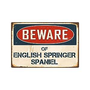 """Beware of English Springer Spaniel 8"""" x 12"""" Vintage Aluminum Retro Metal Sign VS162 3"""