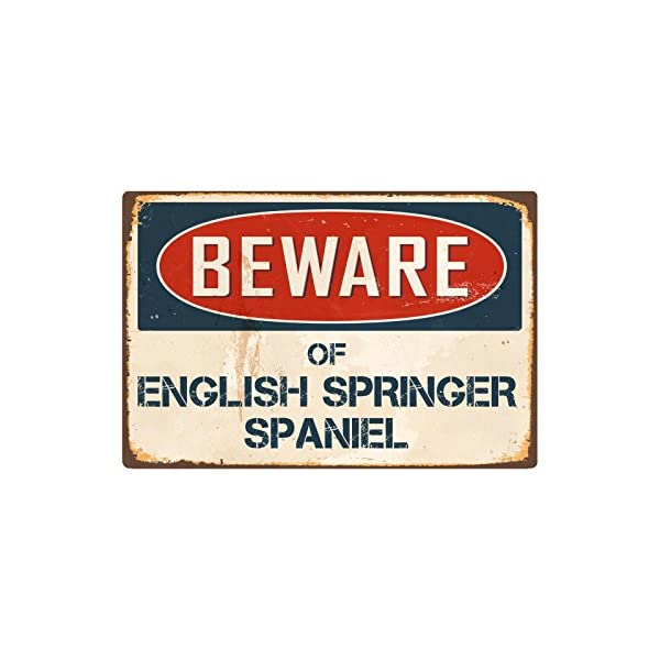 "Beware of English Springer Spaniel 8"" x 12"" Vintage Aluminum Retro Metal Sign VS162 1"