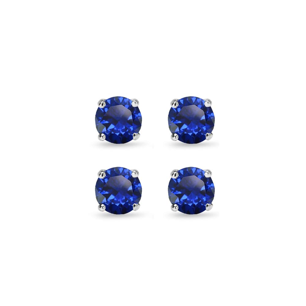 Sterling Silver Created Blue Sapphire Round-Cut Solitaire Stud Earrings for Women Teen Girls