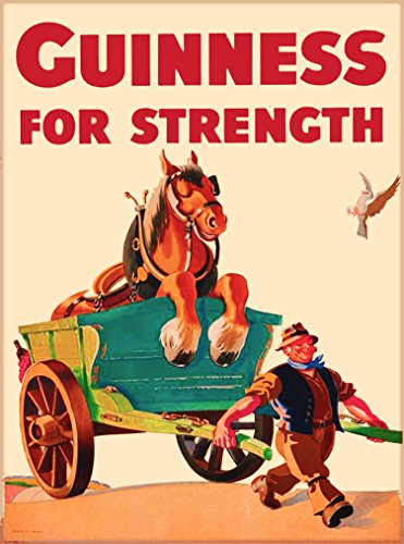 A SLICE IN TIME Guinness Beer for Strength Man Pulling Horse in Cart Dublin Ireland Great Britain Vintage Travel Home Collectible Wall Decor Advertisement Art Poster Print. 10 x 13.5 inches.