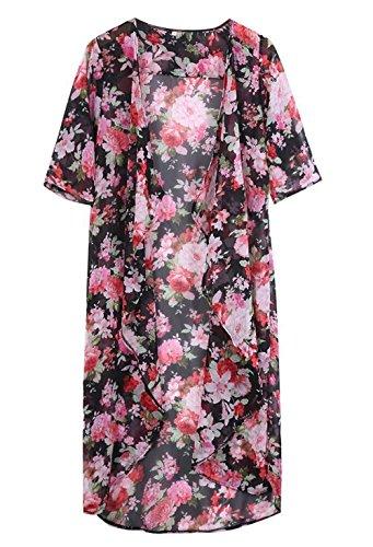 Dame-Blumen öffnen Cape beiläufige Mantel lose Bluse Kimono Jacke Cardigan A
