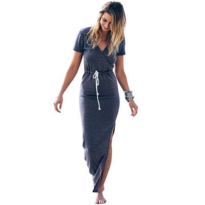 Damark(TM)) Vestidos Largos Verano Mujer Vestido de Verano Largo Maxi Falda Mujer Casual Elegante Boda Playa Fiesta Noche Mujer Boho Vestido de Noche Maxi ...
