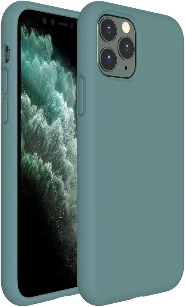 Miracase Liquid Silicone Case Compatible with iPhone 11 Pro Max 6.5 inch(2019), Gel Rubber Full Body Protection Shockproof Cover Case Drop Protection Case (Midnight Green)
