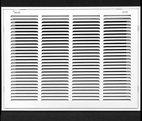 """20"""" X 12 Steel Return Air Filter Grille for 1"""" Filter - Removable Face/Door - HVAC DUCT COVER - Flat Stamped Face - White [Outer Dimensions: 22.5 X 13.75]"""
