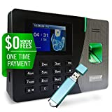Silver X Fingerprint Time Clock For Employees | Requires Cloud Lite Purchase | $0 Monthly fee | Finger print Proximity Card or Pin Code |LAN Download data Automatically | Dynamic Reports