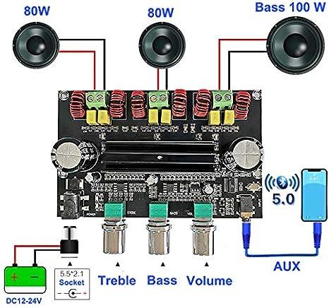 SZMYLED onderdelen Accessoires 2 * 80W 100W Bluetooth 5.0 TPA3116D2 Carte damplificateur de subwoofer de Puissance 2.1 canaux /Égaliseur st/ér/éo Audio AUX Classe D Ampli Planche Nue Coque