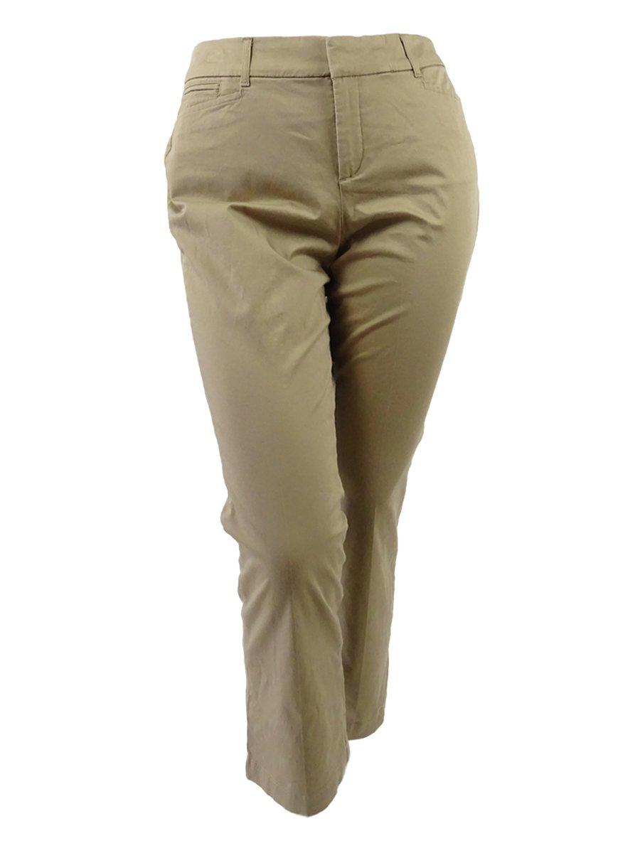 JM Collection Womens Plus No Gap Waistband Tummy Slimming Khaki Pants Tan 14WP