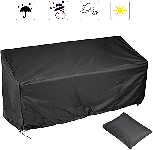 YANSHON Fundas Muebles Jardin Funda Banco Jardin Sillas 3 Plazas, Cubierta Muebles Jardín Funda para Sillas 210D Oxford, Funda Banco Jardín Impermeable Anti-UV Anti-viento e Anti-polvo 163x66x63/89cm: Amazon.es: Hogar