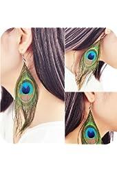 Susenstore Fashion Boho Style Peacock Feather Silvery Hook Women's Dangle Earrings by Susenstore