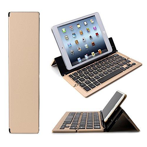 tooth Keyboard, F18 Universal Portable Bluetooth 3.0 Wireless Keyboard Kickstand Holder Apple iPad iPhone IOS, Andriod, Windows(Gold) ()
