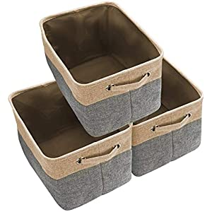 Awekris-Large-Storage-Basket-Bin-Set-3-Pack-Storage-Cube-Box-Foldable-Canvas-Fabric-Collapsible-Organizer-with-Handles-for-Home-Office-Closet-Toys-Clothes-Kids-Room-Nursery-Grey