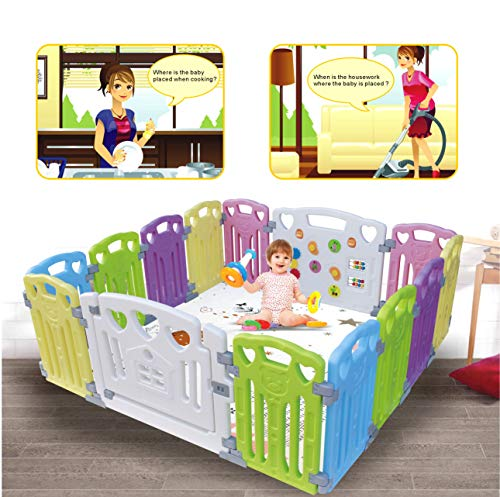 Baby Playpen Kids Activity Centre Safety Play Yard Home Indoor Outdoor New Pen (multicolour, Classic set 14 panel) from Gupamiga