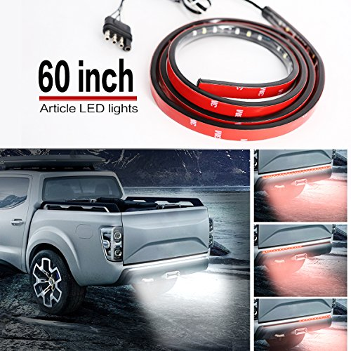 "Led Tailgate Light, Tinpec 60"" Red/white Tailgate LED Strip Light Bar Truck Reverse Brake Turn Signal Tail for 2003-2012 Dodge Ram 1500 2500 3500 4500 5500 Chevy GMC Sierra F150 F250 F350"
