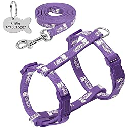 Didog Reflective Adjustable Cat Harness Nylon Strap Collar and Leash Colorful and Cute Panda Pattern, with Fish Shaped ID Tag for Cats and Small Dogs,Purple