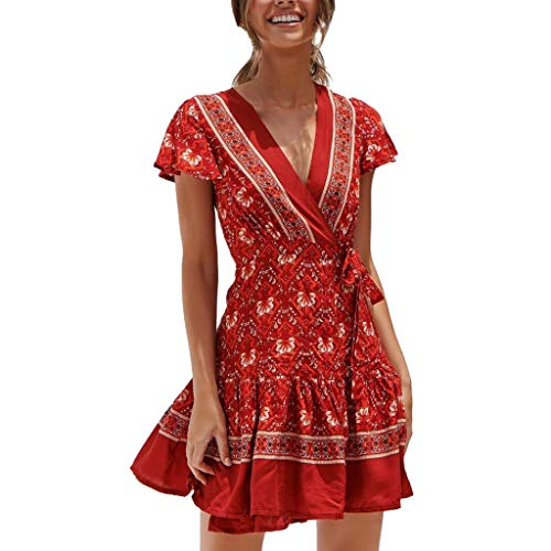 (Playsuit for Women,MILIMIEYIK Women's Sexy Bohemian Casual Loose Romper Womens Floral Summer Party Beach Short Mini Dress Red)