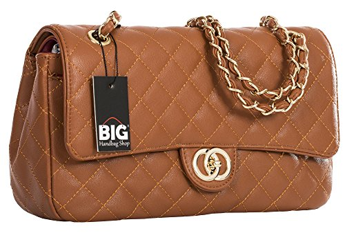 Big Handbag Shop Womens Quilted Twist Lock Shoulder Bag (Tan - Round Clasp (Design - Bag Quilted Tan