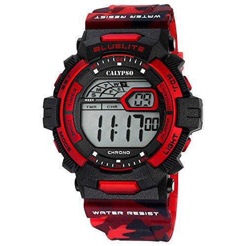 Calypso Herrenarmbanduhr Quarzuhr Digital Kunststoffuhr mit Polyurethanband Alarm-Chronograph alle Modelle K5693, Variante:06: Amazon.es: Relojes