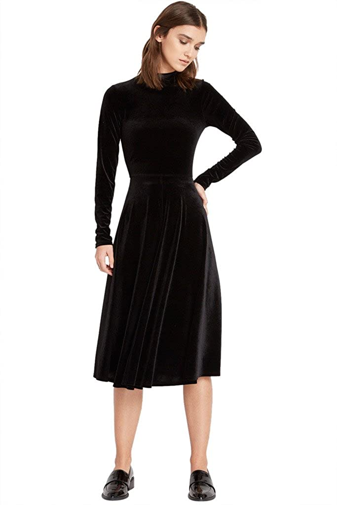 0e90b644973 90% Polyester 10% Spandex Soft Velvet Fabric with Great Spandex Stretch  Made in USA of Imported Fabric Women classic mock neck flare dress.