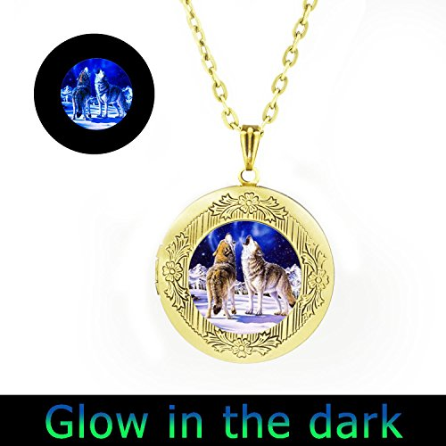Glowlala glowing Howling Wolf Blue Moon locket Necklace Glow in the Dark with Simple Victorian Vintage Style silver or brass locket Pendant - Victorian Locket Silver Style