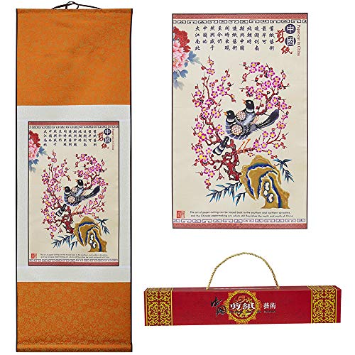 - Chinese Styled Silk Scroll Painting ,Wall Scroll Painting, Scroll wall sculpture by Gift Packaged ( Plum Blossom and Magpie)