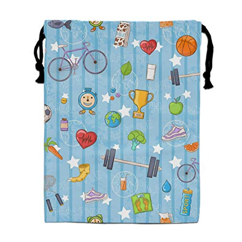 Blue Healthy Lifestyle Drawstring Bags Waterproof Party Favors