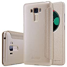 Asus Zenfone 3 Laser Case,Zenfone 3 Laser Leather Case,Opdenk (TM) NILLKIN Sparkle Window View Smart Sleep Wake Up Case PU Leather Flip Cover Case for Asus Zenfone 3 Laser (ZC551KL) (Champagne Golden)