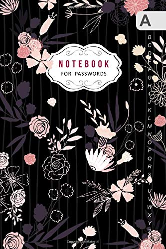 Notebook for Passwords: B6 Internet Logbook Journal Mini with Alphabetical Tabs | Pinstripe Floral Design Black